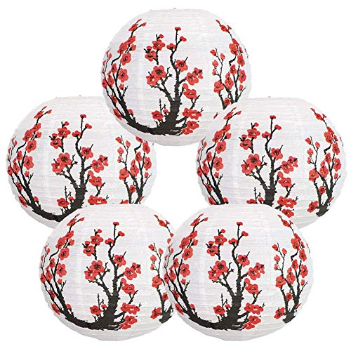 Cobeky Faroles de papel japoneses y chinos de 30,5 cm (juego de 5 unidades), color rojo