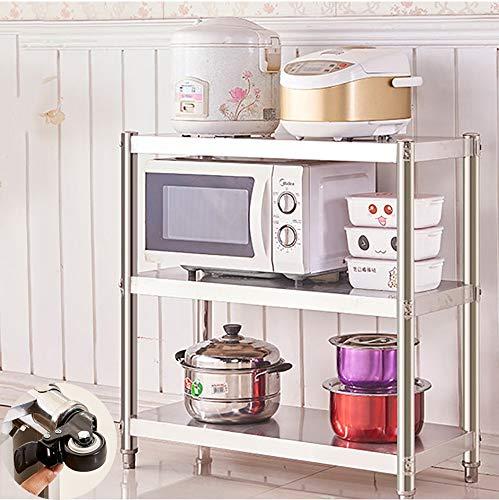 WYQ Cesta Cocina con Ruedas, estantes de Acero Inoxidable, lo Suficientemente Resistente como, cargable 250KG, Organizador de la Cocina, de 3 gradas del balanceo de la Compra, trastero lavandería
