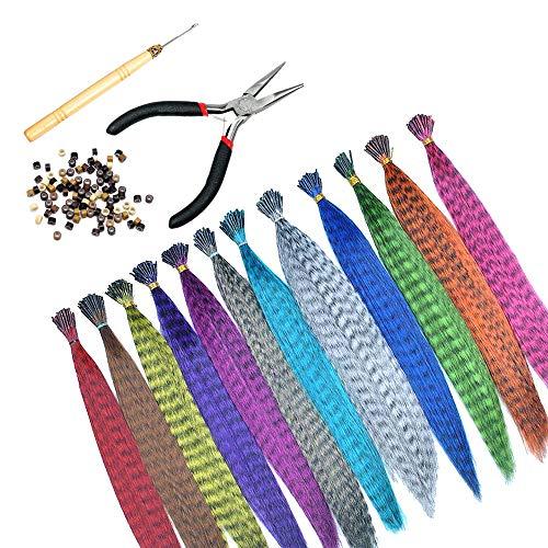 Gobesty Federhaarverlängerungs Set, 32 Stück Haarsträhnen Farbiger Haarverlängerungs Clip Feder Extensions Strähnchen Bunt Gerade Synthetisch Haarteil mit 100 Silikonring, Zange und Häkchen