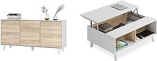 Habitdesign Aparador Buffet contrachapada + 0F6633BO - Mesa de Centro elevable Comedor salón Color Blanco Brillo y Roble...