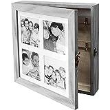 Wohaga Gabinete de Llaves/gabinete de joyería con galería de Fotos para 4 Fotos 10x10cm, Cofre de joyería, Caja de...