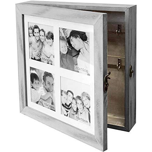 Wohaga Schlüsselschrank/Schmuckschrank mit Fotogalerie für 4 Fotos 10x10cm Schmuckkästchen Schmuckkommode Schlüsselkasten