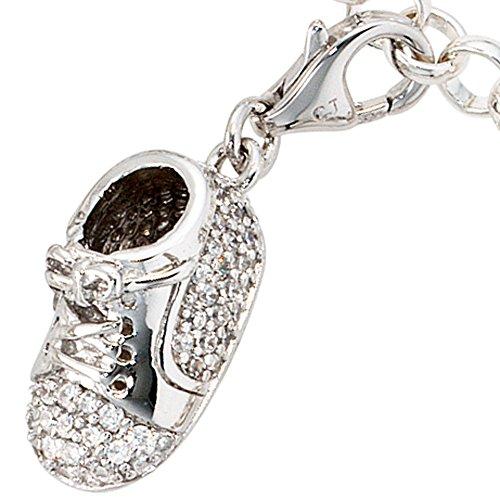 JOBO Damen-Charm Babyschuh aus 925 Silber mit Zirkonia