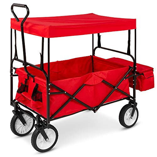 Best Choice Products Utility Cargo Wagon Cart for Beach, Camping, Groceries w/Folding Design, Removable Canopy, Cup Holders - Red