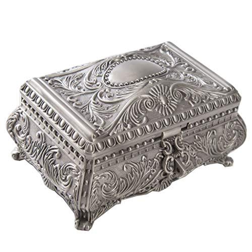 JOYKK Vintage Sieraden Trinket Box Rechthoek Doos Metallic Bloemendoos Kleine Gift Opslag - Grijs