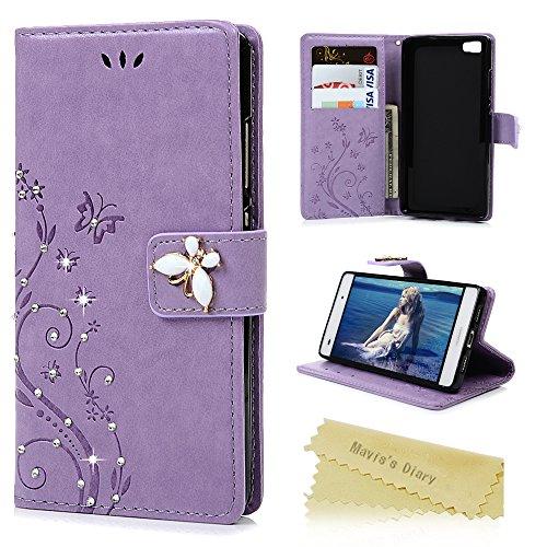 Huawei P8Lite case–Mavis' s Diary Bling diamanti gemme del cuoio di farfalla e fiori con cover in ecopelle Premium Shell elegante glitter strass custodia Folio fondina per Huawei P8Lite