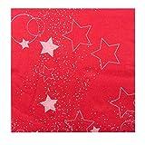 LA PAJARITA 50 Serviettes de Noël en papier décorées Micropoint 40 x 40 cm Stars (Rouge)