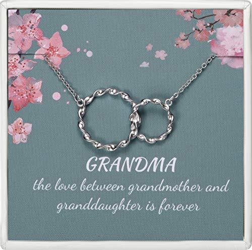 Lalamer Grandma Necklace Sterling Silver Double Circle Interlocking Grandma Pendant Necklace for Women Nana
