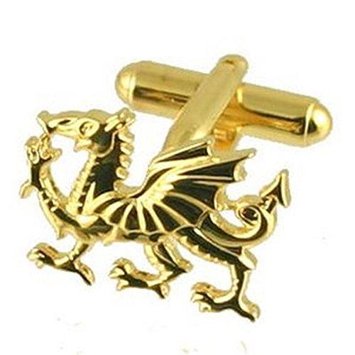 Boutons de manchettes Cufflinks Gold Dragon dragon gallois or~Pochette Cadeau Sélectionner manchette