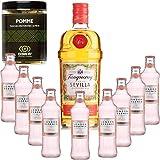 Paquete Gintonic - Gin Tranqueray Flor de Sevilla + 9 * Esencia de Londres 'White Peach & Jasmin' Pot + 60 rebanadas de manzana seca - (70cl 20cl * + 9)
