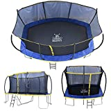 ZERO GRAVITY Ultima 5 Rectangular Barrel Trampoline in 3 Sizes. High Specification with Safety Enclosure Netting and Ladder (15ft x 10ft)