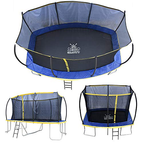 ZERO GRAVITY Ultima 5 Rectangular Barrel Trampoline in 3 Sizes. High Specification with Safety Enclosure Netting and Ladder (10ft x 7ft)