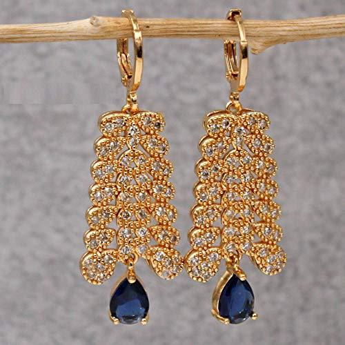 HoopsEarringsForWomen,Fashion Blue Leaves Water Drop Zircon Long Pendant Hoop Earrings Hypoallergenic Lightweight Hoop Ring Circle Jewelry Earrings For Women Girls Party Wedding Valentine'S D