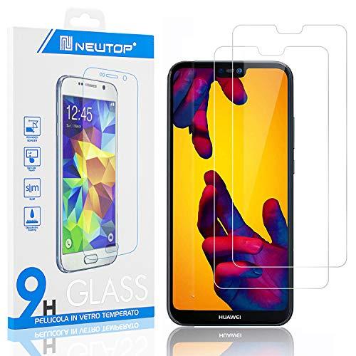 N NEWTOP [2 Pezzi] Pellicola GLASS FILM Compatibile per Huawei P20 Lite, Fina 0.3mm Durezza 9H in Vetro Temperato Proteggi Schermo Display Protettiva Anti Urto Graffio Protezione