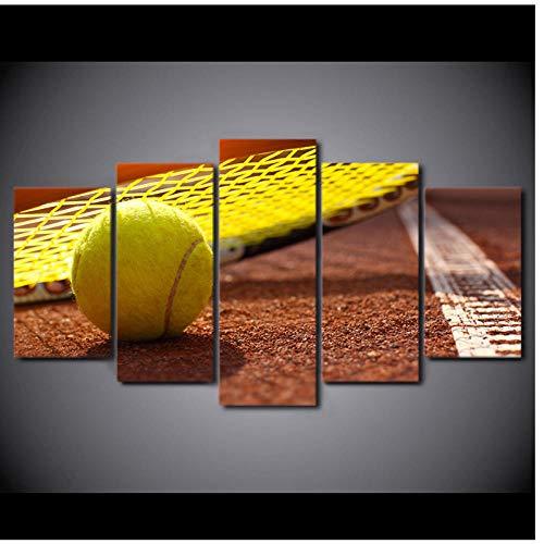 Juabc Bilder HD Drucke Poster 5 Panel Sport Tennis Schläger Dekoration Home Artworks Leinwand Gemälde Wand für Wohnzimmer Artwork 30x50 30x70 30x80cm
