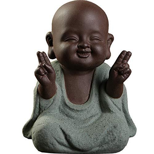 Kingzhuo Ceramic Tiny Cute Buddha Statue Monk Figurine Creative Baby Buddha Crafts Dolls Ornaments Gift Classic Delicate Ceramic Arts and Crafts Tea Accessories Small (7 x 10 cm)