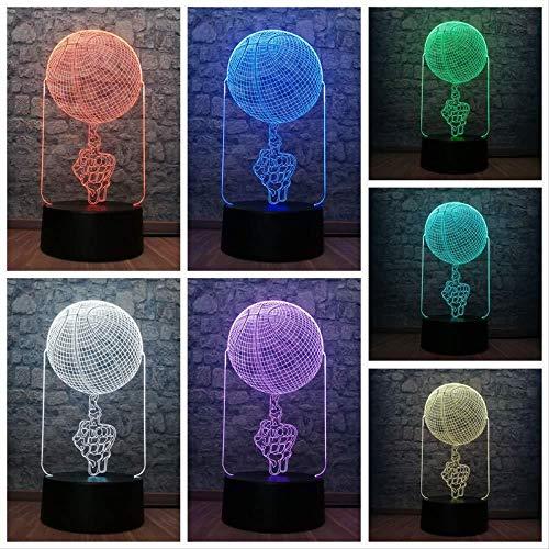 Weihnachtsgeschenke Gaming Lights 3D USB LED Lampe Mittlere Figur Figur Basketball spielen 7 Farben Wechselndes Licht Licht Cooles Schlafzimmer Geschenk Sportliche Dekoration mit Fernbedienung