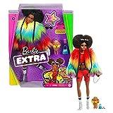 Barbie Extra poupée articulée brune au look tendance et oversize, avec figurine animale et accessoires inclus, jouet pour enfant, GVR04