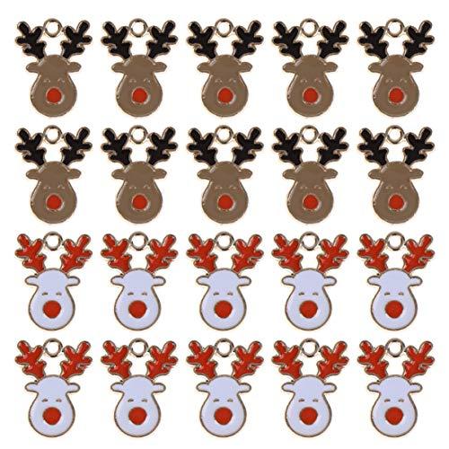 Amosfun 20 Stks Kerst Elk Sieraden Maken Bedels DIY Rendier Bedels Hanger Kerst Armband Bedels voor Kerstmis Armband Ketting Sleutelhanger Maken Accessoires