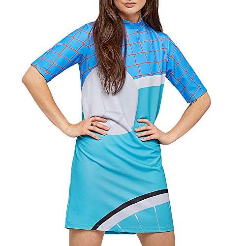adidas Originals Femme Robe Motif imprimé Manches Courtes - Bleu/Turquoise - 34