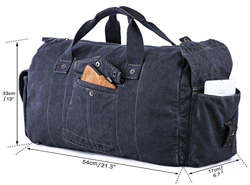 51Pb1gjLm+L - Gootium - Bolsa de lona estilo vintage, para viajes, fin de semana