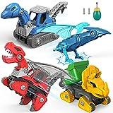 SUMXTECH Dinosaurio Juguetes para niños, 4 packs de dinosaurios montaje juguetes camiones con taladro eléctrico, excavadora DIY camión de basura, juguetes educativos, set regalo para niños y niñas