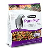 ZuPreem Pure Fun Bird Food for Parrots and Conures | Blend of Fruit, Natural FruitBlend Pellets, Vegetables, Nuts for African Greys, Senegals, Amazons, Eclectus, Small Cockatoos (2 lb Bag)
