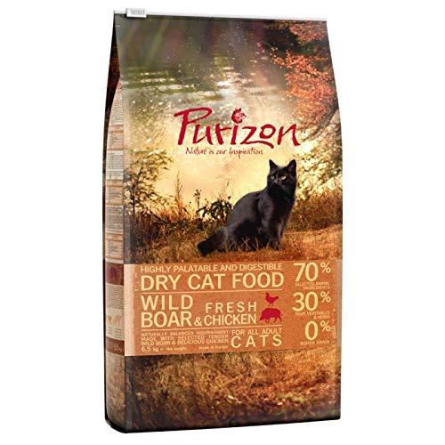 Purizon Adult Getreidefreies Premium Trockenfutter für Katzen mit Wildschwein 6,5 kg mit hohem Proteingehalt