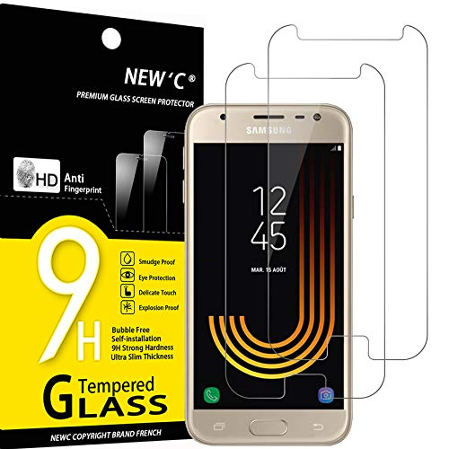 NEW'C Lot de 2, Verre Trempé Compatible avec Samsung Galaxy J3 2017 Film Protection écran sans Bulles d'air Ultra Résistant (0,33mm HD Ultra Transparent) Dureté 9H Glass
