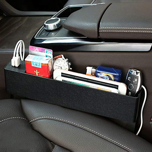 no brand Organisateur de Voitures Universal Car Console Chargeur Multifonction Side Pocket Seat Gap côté boîte de Rangement, avec 2 Ports USB, Noir (Color : Black)