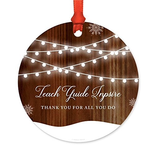 Andaz Press Custom Year Teacher Christmas Ornament, Teach Guide Inpsire Thank You for All You Do Christmas 2020, Rustic Wood Snow Shining Ball Lights, 1-Pack, Includes Ribbon and Gift Bag