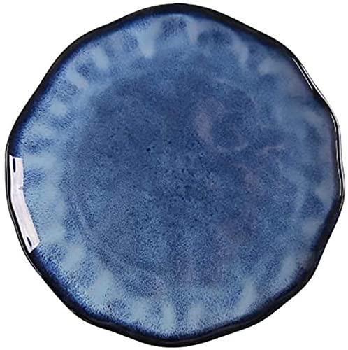 CHANGAN Mr.Kkkk Cena Platos Sirviendo Platter Porcelana Vajilla Almuerzo Placas Premium Steak Sushi Plate Placas Placas (Color: Azul, Tamaño: Medio)