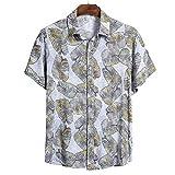 EverNight Camisa De Los Hombres Estilo Hawaiano, Tropical Pétalo De Impresión De Manga Corta De Vacaciones, Playa Botón Casual hasta La Camiseta,7,XXXL