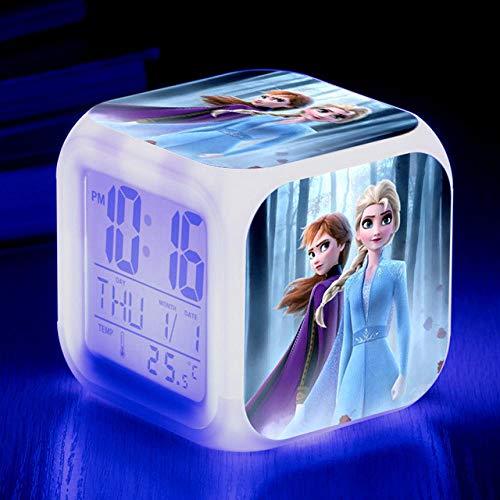 Réveil de dessin animé congelé 7 couleurs changeantes veilleuse LED réveils numériques étudiant brillant enfants horloge de bureau avec thermomètre adulte enfants cadeau - 37