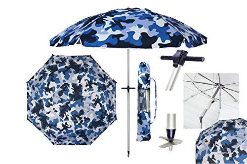 Pincho Sombrilla Altea Playa/jardín 2m Aluminio UPF+50 99% UV Punta de Aluminio Reforzado 8 Varillas(Camuflaje Azul)