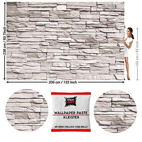 GREAT ART Fototapete Weiß Steinwand Steinmauer 336 x 238 cm – Steinoptik Sandstein Schiefer Verkleidung Modern Wandtapete Dekoration Wandbild – 8 Teile Tapete inklusive Kleister
