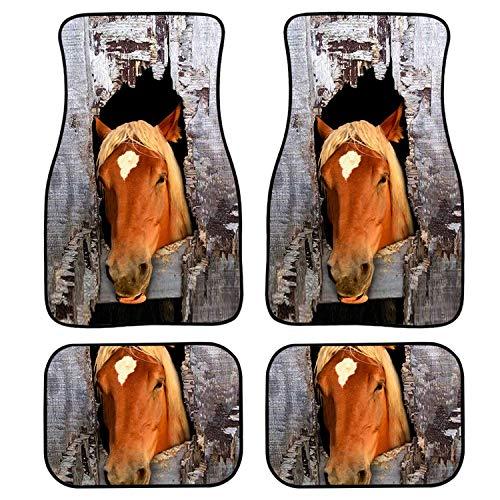 TaiWang Impresión de Caballos Impermeable Ajuste Universal Ajuste Coche Colinas, Ajuste para SUV, Vans, Sedanes, Camiones, Cojín de pie de Tigre Creativo de Cuatro Piezas,Gh2