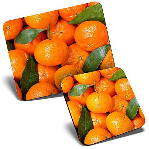 Juego de alfombrilla de ratón y posavasos – Oranges Fruit Healthy Diet 23,5 x 19,6 cm y 9 x 9 cm para ordenador y portátil, oficina, regalo, base antideslizante #2011