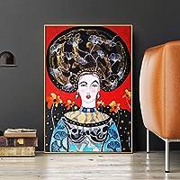 幻想的な花の髪の少女漫画のポスタープリント壁アート画像抽象女性キャンバス絵画リビングルーム家の装飾60x80cmフレームレス