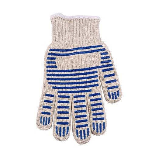 RoxTop Hitzebeständig Beständig Küche-Ofen-Handschuh-Handschuh für 540F Heiße Oberfläche schwer entflammbar Beige + Blau