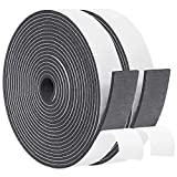 Door Insulation and Soundproofing Tape 2 Rolls 3/4 Inch Wide X 3/8 Inch Thick, Foam Draft Gasket Tape 10mm Thick and Black, Total 13 Feet Long (2 X 6.5 Ft Each)