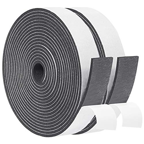 Yotache Adhesive Foam Tape 3 Rolls Total 50 Feet Long 1/2 Inch Wide X 1/8 Inch Thick, Insulation Soundproofing Neoprene Rubber Door Weather Stripping, 3 X 16.5 Ft Each