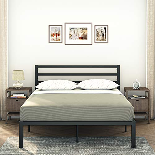 AMBEE21 – Modern Queen Platform Metal Bed Frame with Headboard: (14 inch) – Black Heavy Duty Iron Metal Bed Frame, Sturdy Mattress Support, Under Bed Storage, Steel Slat Support, No Box Spring Needed