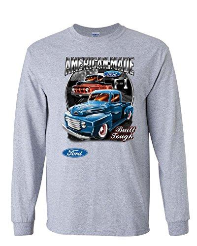 Ford Pickup Trucks F1 Long Sleeve T-Shirt American Made Hot Rod Built Tough Tee Gray 2XL
