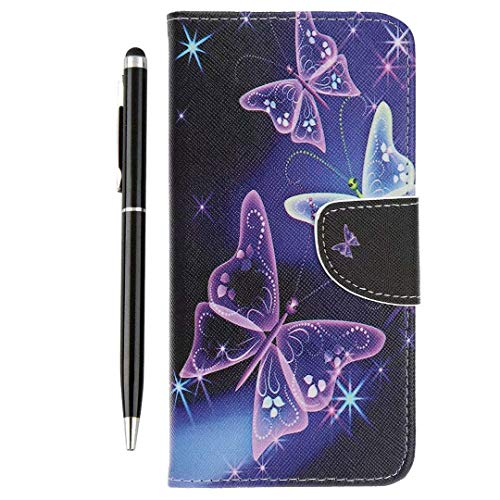Huawei Mate 20 PRO Case Shockproof, Premium Mate 20 PRO Phone Cover Purple Butterfly Painted PU Leather Wallet Flip Magnet Stand Book Case for Huawei Mate 20 PRO & One Touch Pen