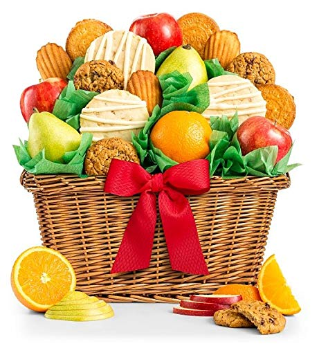GiftTree Fruit and Gourmet Cookies Gift Basket | Premium Fresh Pears Apples and Oranges with Fresh Cookies | Perfect Gift for Birthday Business Thank You Sympathy Holiday or Any Occasion