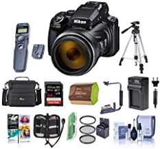 Nikon COOLPIX P1000 Digital Point and Shoot Camera - Bundle with Camera Case, 64GB SDHC U3 Card, 77mm Filter Kit, Spare Battery, Tripod, Remote Shutter Trigger, Cleaning Kit, PC Software Pack and More