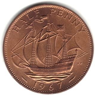 1967 half penny coin