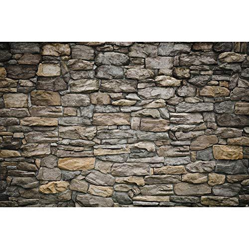 GREAT ART Mural De Pared – Muro De Piedra Gris – Mural Revestimiento De Paredes Mirada De Piedra Patrón De Piedra Tapiz Foto Papel Pintado Y Tapiz Y Decoración (336 x 238cm)