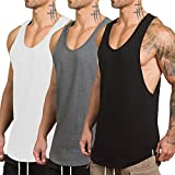 Rexcyril Men's 3 Pack Workout Gym Tank Top Fitness Bodybuilding Stringer Muscle Cut Sleeveless T Shirt Medium 3pack